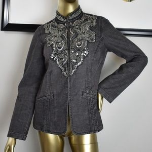CHICO'S denim jean jacket Size 0 Small S 4 Sequins